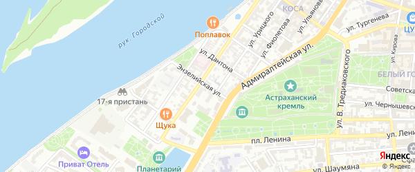 Энзелийская улица на карте Астрахани с номерами домов
