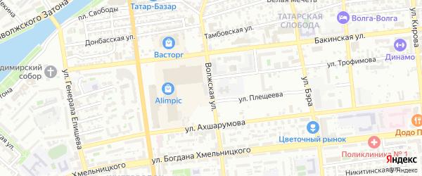Волжская улица на карте Астрахани с номерами домов