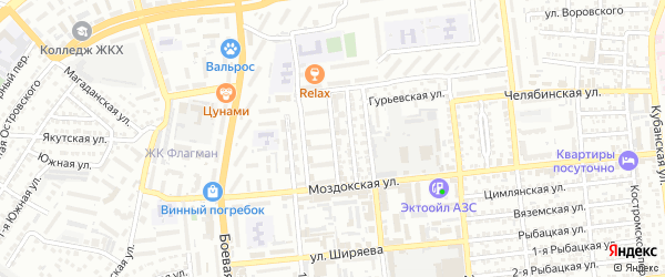 Тихорецкий переулок на карте Астрахани с номерами домов