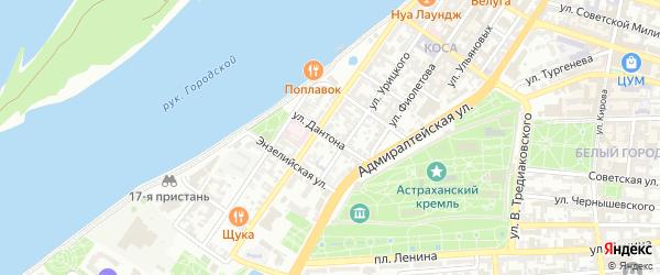 Улица Дантона на карте Астрахани с номерами домов