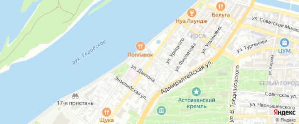 Улица Максима Горького на карте Астрахани с номерами домов