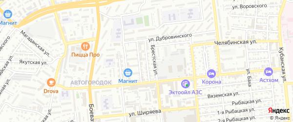 Ветлужский переулок на карте Астрахани с номерами домов