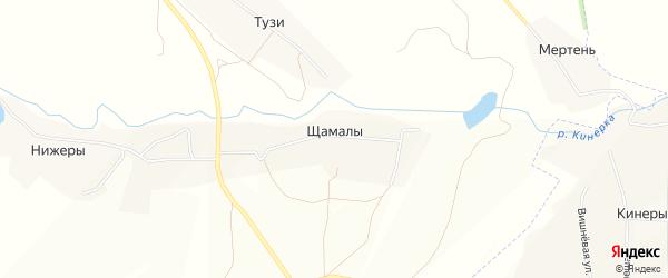 Карта деревни Щамалы в Чувашии с улицами и номерами домов