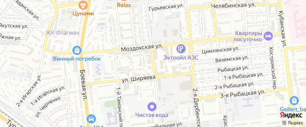 Брестская улица на карте Астрахани с номерами домов
