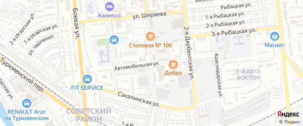 Автомобильная улица на карте Астрахани с номерами домов