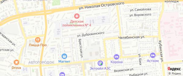 Гурьевская улица на карте Астрахани с номерами домов