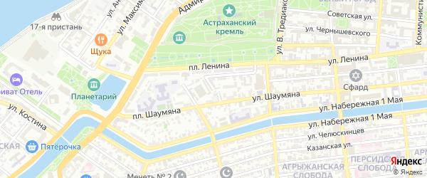 Буровский переулок на карте Астрахани с номерами домов