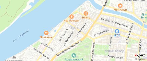 Улица Фиолетова на карте Астрахани с номерами домов