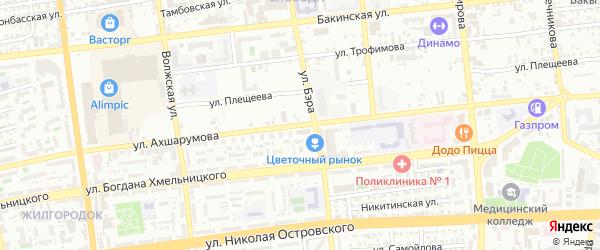 Улица Ахшарумова на карте Астрахани с номерами домов