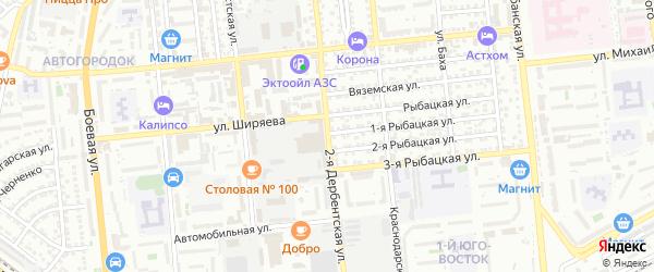 Дербентская 2-я улица на карте Астрахани с номерами домов