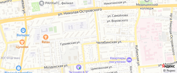 Переулок Дубровинского на карте Астрахани с номерами домов