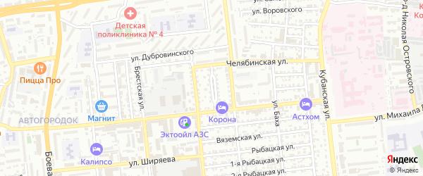 Майкопская улица на карте Астрахани с номерами домов