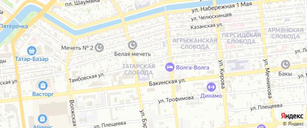 Тамбовский переулок на карте Астрахани с номерами домов