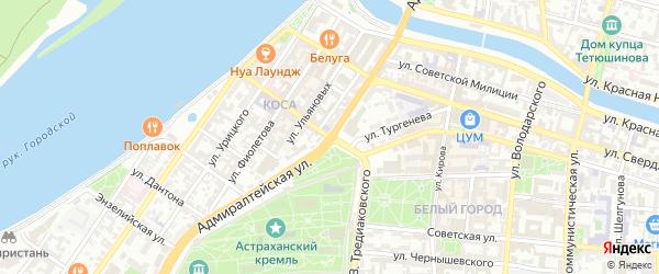 Адмиралтейская улица на карте Астрахани с номерами домов