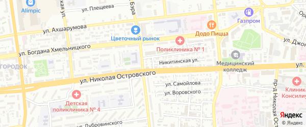 Сызранский переулок на карте Астрахани с номерами домов