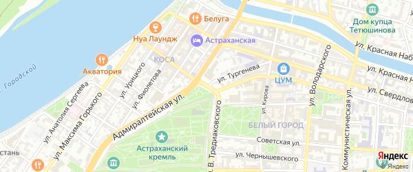 Октябрьская площадь на карте Астрахани с номерами домов