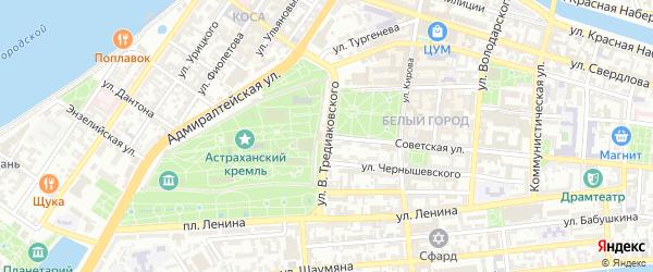 Улица Василия Тредиаковского на карте Астрахани с номерами домов