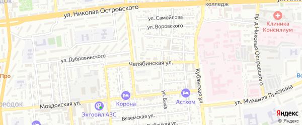 Челябинская улица на карте Астрахани с номерами домов