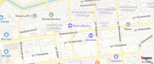 Бакинская улица на карте Астрахани с номерами домов