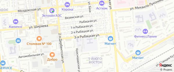 Рыбацкая 3-я улица на карте Астрахани с номерами домов