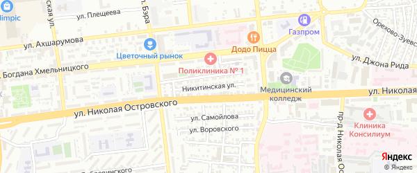 Никитинская улица на карте Астрахани с номерами домов