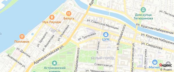 Улица Тургенева на карте Астрахани с номерами домов