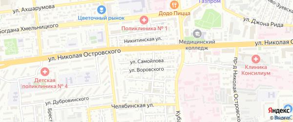 Улица Самойлова на карте Астрахани с номерами домов