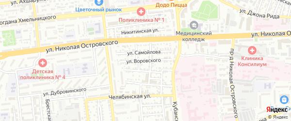 Улица Воровского на карте Астрахани с номерами домов