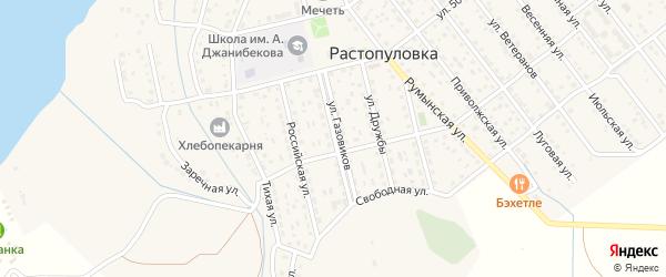 Улица Газовиков на карте села Растопуловки с номерами домов