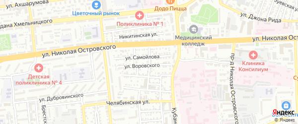 Ростовский переулок на карте Астрахани с номерами домов