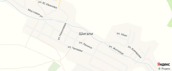 Карта выселков Малые Шигали в Чувашии с улицами и номерами домов