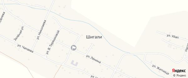 Центральная улица на карте села Шигали с номерами домов