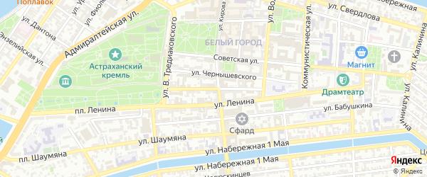 Улица Красного Знамени на карте Астрахани с номерами домов