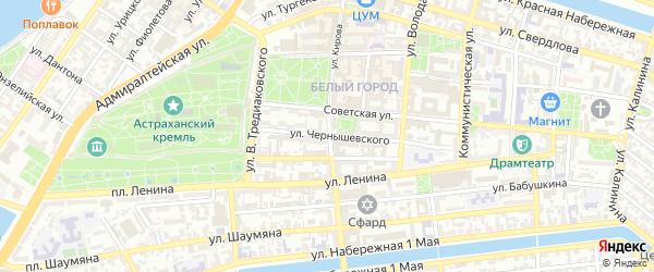Улица Чернышевского на карте Астрахани с номерами домов