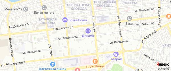 Улица Трофимова на карте Астрахани с номерами домов