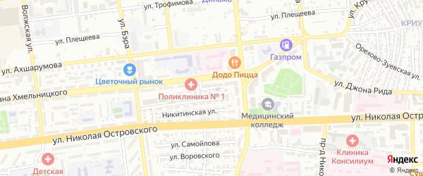 Площадь Декабристов на карте Астрахани с номерами домов
