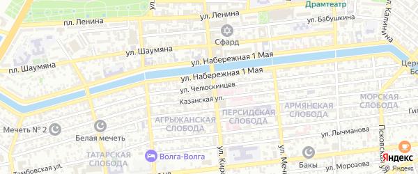 Улица Челюскинцев на карте Астрахани с номерами домов