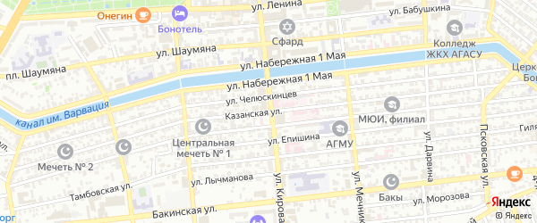 Казанская улица на карте Астрахани с номерами домов