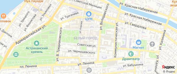 Театральный переулок на карте Астрахани с номерами домов