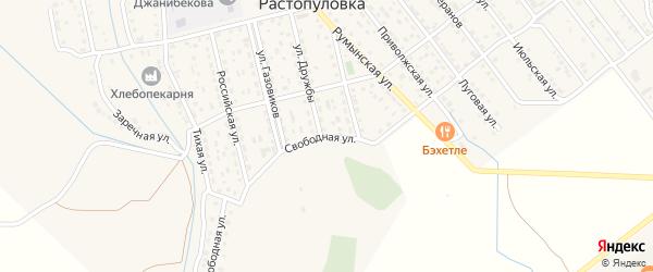 Свободная улица на карте села Растопуловки с номерами домов