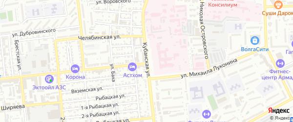 Кубанская улица на карте Астрахани с номерами домов