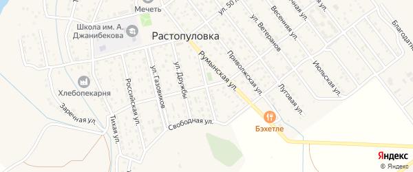 Солнечная улица на карте села Растопуловки с номерами домов