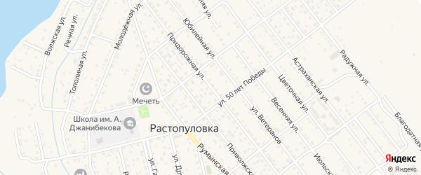 Придорожная улица на карте села Растопуловки с номерами домов