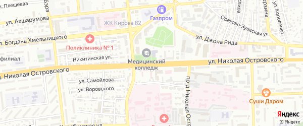 Улица Николая Кузнецова на карте Астрахани с номерами домов