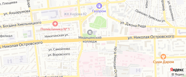 Улица Николая Островского на карте Астрахани с номерами домов