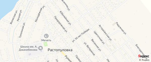 Улица Ветеранов на карте села Растопуловки с номерами домов