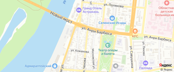Улица Чехова на карте Астрахани с номерами домов