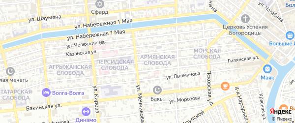 Улица Епишина на карте Астрахани с номерами домов