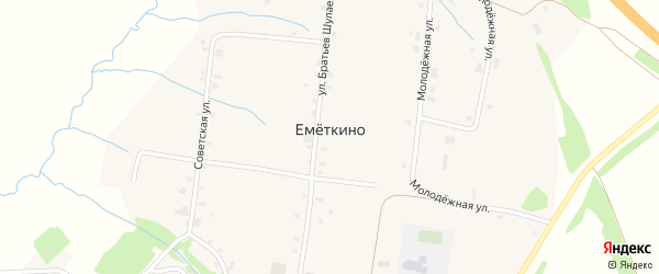 Молодежная улица на карте деревни Еметкино с номерами домов