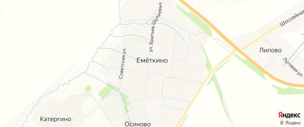 Карта деревни Еметкино в Чувашии с улицами и номерами домов
